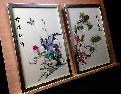 Vintage Chinese Silk Embroidery Pair / Framed / Signed / Bright Colours / Pink