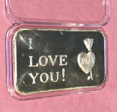 I Love You Crabtree Mint Paradise California 1 Troy Oz .999 Fine Silver Rare Bar