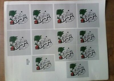 Barg's Root Beer Stickers Sheet Of 12 Dated 9/95 2 Sizes on Sheet
