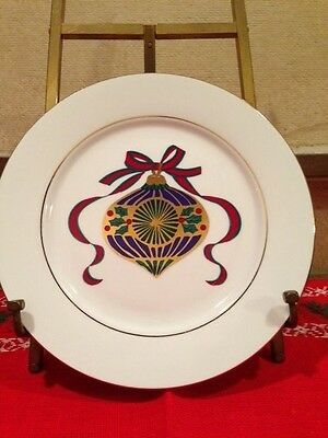 """Tienshan Fine China CHRISTMAS ORNAMENT 8"""" Plate with Gold Accent"""