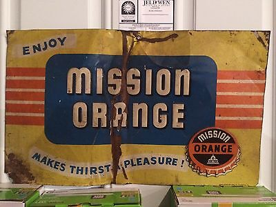 ORIGINAL MISSION ORANGE SODA / Drink Sign.  Antique Vintage