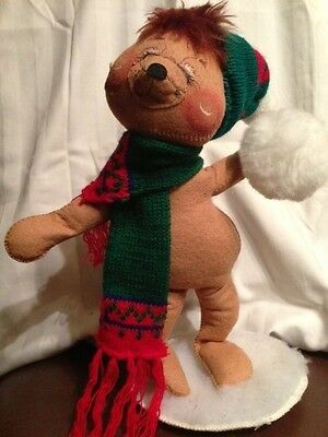 Annalee Merry Christmas Winter Bear in scarf  - snowball fight