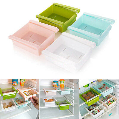 Kitchen Fridge Space Saver Storage DIY Slide Under Shelf Rack Organizer Holder