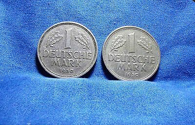 Germany 1950 G & J 1 Deutsche Mark Coins - Lot of 2 coins