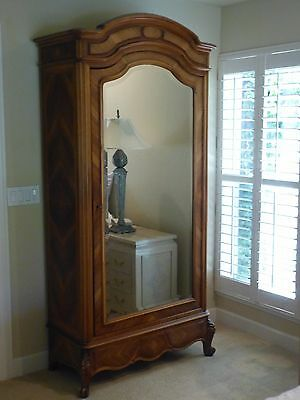 Antique 1890's French Armoire Made of Rosewood and Walnut with Beveled Mirror