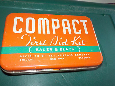 Bauer & Black Compact First Aid Kit Division Of Kendall Co Tin Vintage Hinged Li