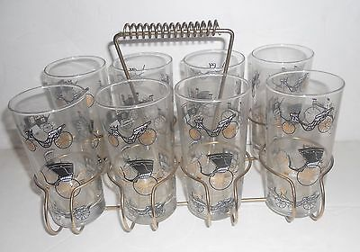 VIintage LIBBEY Glasses SET 8 Cocktail Cars Antique BUGGY LIBBY w/Carrier Bar