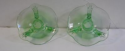 Pair of Antique Green  Vaseline Depression Glass 3-footed candle holders
