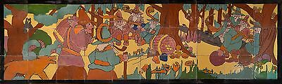 Muresque Tile Mural with Elves Bowling & Beer