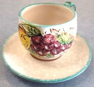 Vietri pottery-Green Lemon Cup And Saucer.Made painted by hand in Italy