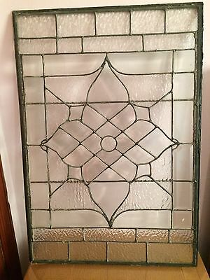 Antique Leaded Stained Glass Window Snow Glass Crystals Beautiful