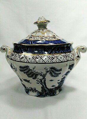 Vintage Sugar Bowl & Lid in REAL OLD WILLOW Blue by Booths - Made in England