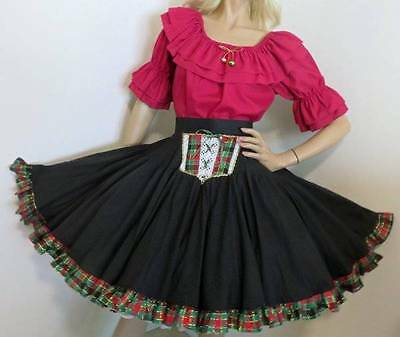 12f172a4738e Christmas Holiday Plaid Cranberry Red Gold Square Dance Dress Skirt &  Blouse S M