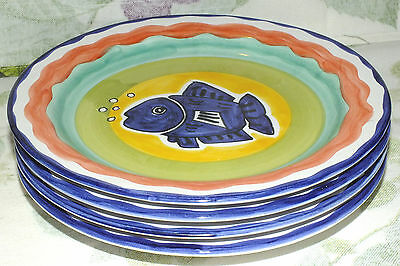 RC REAL CERAMICA Portugal BLUE FISH POTTERY PLATES 4 numbered signed  EXC