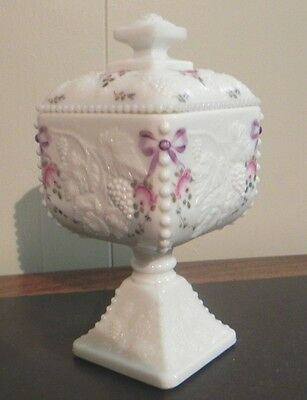 Vintage Westmoreland Grape Candy Dish Milk Glass Beaded Edge Hand Painted Roses