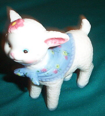 Vtg Lamb Figurine With Blue Cape Scarf Hooves And Pink Flower