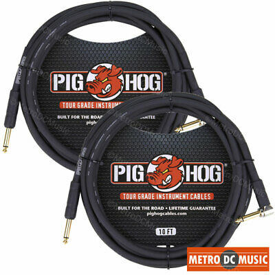 """2-Pack PIG HOG 10' ft 1/4"""" RA RIGHT ANGLE STRAIGHT GUITAR CABLE PH10R PigHog NEW"""