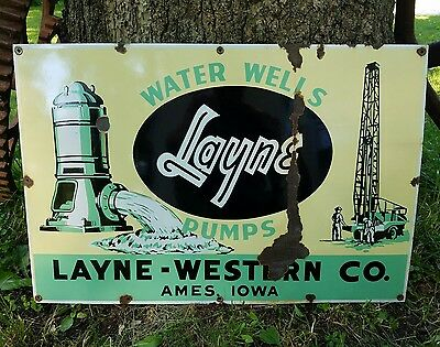 Rare Porcelain Layne Water Wells Pumps Sign Ames Iowa