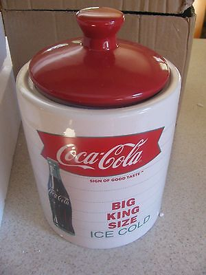"""Coca-Cola Cookie Jar """"Big King Size Ice Cold"""" is written on jar NEW in Box"""