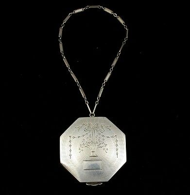 Antique Sterling Silver Hand Engraved Flower & Festoon Pattern Compact