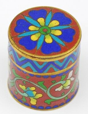 Vintage Chinese Cloisonne Enamel Thimble Box Red