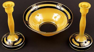 Art Deco 4-PC Satin YELLOW w/ Black & Gold Trim Console Bowl Candlesticks & Base