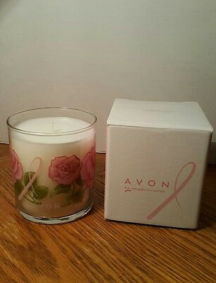 """Avon Breast Cancer Crusade Candle Rose Scent 4"""" New In Box"""