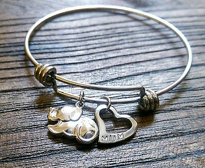 Stainless Steel Silver Filigree Circle & Heart Charm Bangle Adjustable Blue