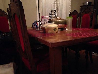 """Dining Set w/18"""" Extension Leaf AND 8 Regal Red Chairs - READ"""