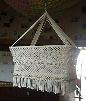 Baby Cradle Bassinet Hanging Crib 100% Handmade Round Natural Cotton Portable