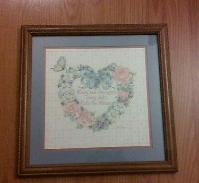 """Home Interior Homco Heart Shaped Flower Picture """"Every New Day"""" 17"""" X 17"""""""
