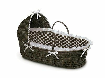 Badger Basket Moses with Polka Dot Hood and Bedding Espresso/Brown Baskets Baby
