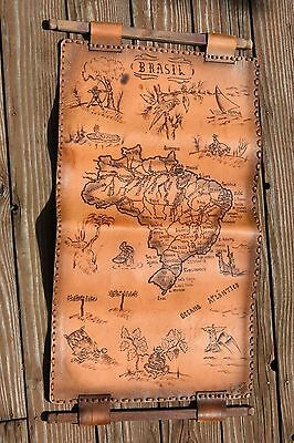 large vintage 1985? hanging leather tooled map of Brasil Brazil Ateliarte 09-85