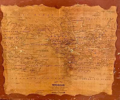 Old Map of The World Wood Wall Plaque