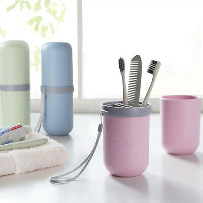 Portable Capsule Shaped Toothbrush Holder Toothpaste Storage Box Gargle Cups