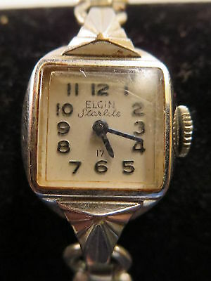 Vtg Ladies Elgin Starlite 17 Jewel Mechanical Watch Stainless w/Gold Filled Band