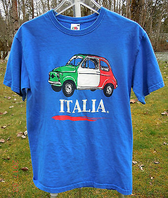 "Fiat 500 T Shirt Small 38"" Chest Italian Flag On A Vintage Topolino T Shirt !"