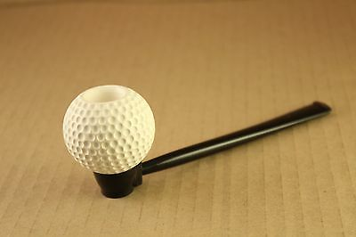Vtg Tobacco Pipe Carved Meerschaum Dimpled Golf Ball Shape Long Stem Unsmoked