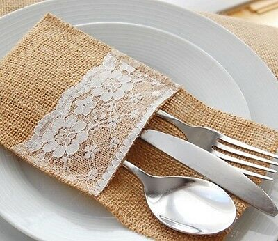 HESSIAN LACE CUTLERY HOLDER Rustic Wedding Party Table Deco BUY 1, 5, 10, 25, 50