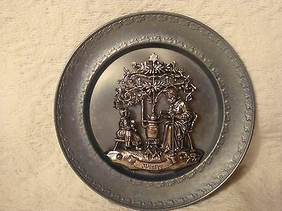 Vintage B.P. Pewter Winter Detailed Display Plate Old Lady Reading By Wood Stove