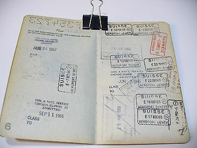 Vintage Passport Usa 1965 Many Visas And Stamps, Fiscal, Reisepass