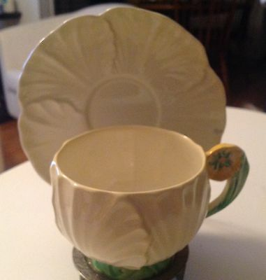 Carlton Ware Buttercup Yellow Tea Cup & Saucer, Flower Handle, ca. 1930-1950's