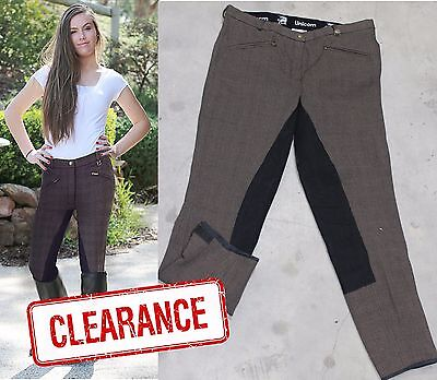 Unicorn Brown Check Ladies Breeches Leather Seat Velcro Closure at Bottom *NEW