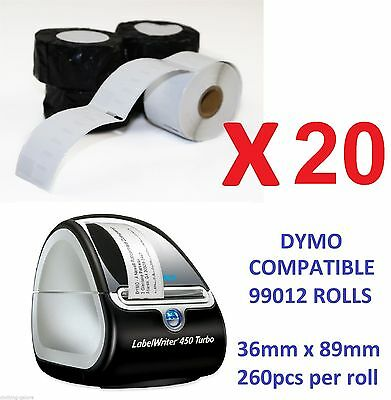 20 xQUALITY LABELS FOR DYMO LABELWRITER (DYMO CODE 99012) LABELS 36mm x 89mm 450
