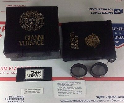 Empty Gianni Versace Unica Black Jewelry Key Ring Box w/ Pouch & Leather Bands