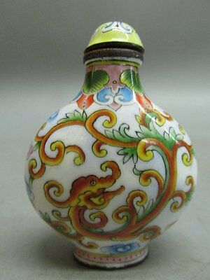 Chinese Copper Enamel Painted Dragon Pattern Snuff Bottle