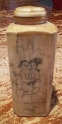 Antique Bone Chinese Hand Carved  Snuff Bottle