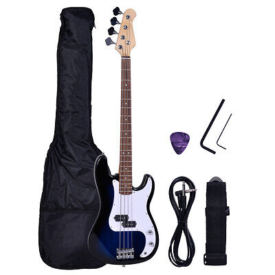 NEW Full Size 4 Strings Blue Electric Bass Guitar +Gigbag+AMP Cord