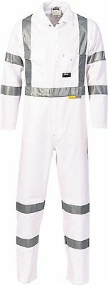 1 x overall white RTA coverall with cross X tape NIGHT road worker cotton drill