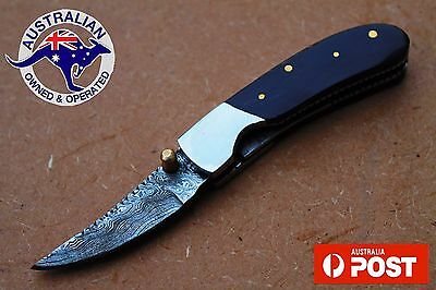 "Damascus Steel Custom Handmade 4.6"" Folding Pocket Knife - Bull Horn Handle"